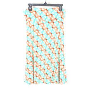 LULAROE Women's Azure Green & Orange Skirt 1153